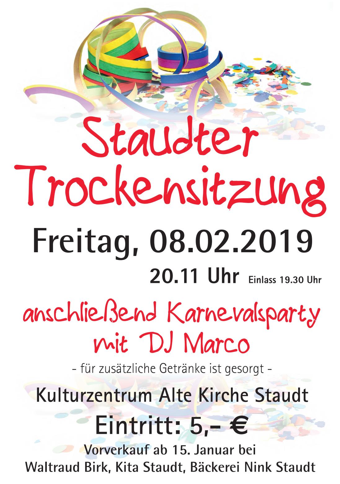 Karnevals-Trockensitzung 2019 @ Alte Kirche Staudt