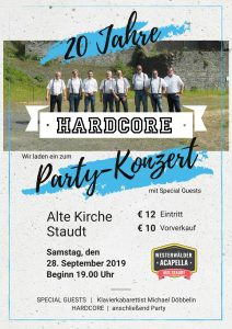 20 Jahre HARDCORE Party-Konzert @ Alte Kirche Staudt